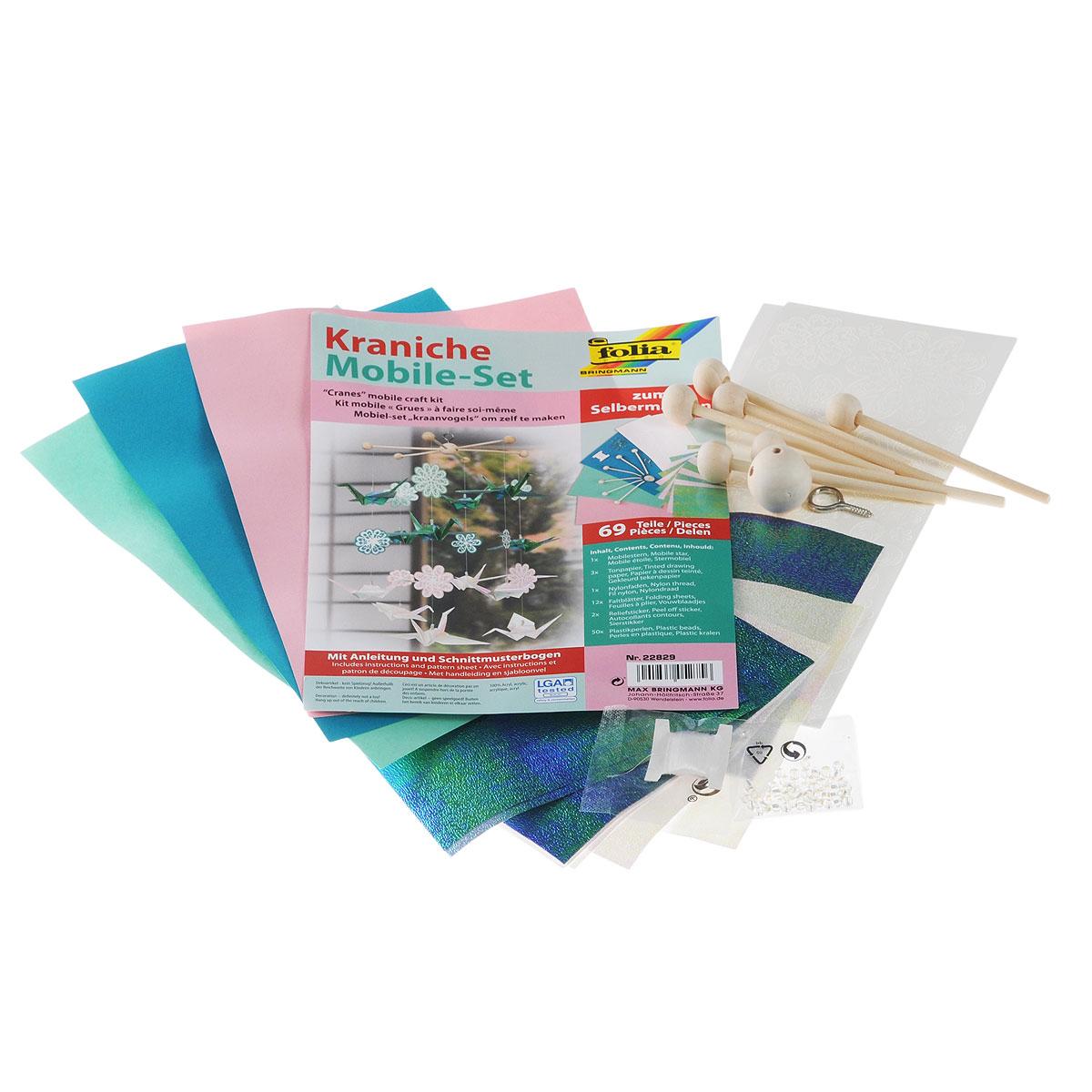 Набор для изготовления мобиля Folia Цветы и птицы, 69 предметов folia folia sample платье s m синий
