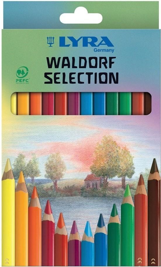 Цветные карандаши Lyra Lacc Waldorf Selection, 12 цветовL3721123Цветные карандаши Lyra Waldorf Selection непременно, понравятся вашему юному художнику. Набор включает в себя 12 ярких насыщенных цветных карандаша с треугольной формой для удобного захвата. Уникальные цвета карандашей, разработаны специально немецкой художественной школой. Карандаши изготовлены из натурального дерева, экологически чистые, лакированные. Идеально подходят для левшей. Имеют прочный неломающийся высокопигментный грифель, не требующий сильного нажатия и легко затачиваются. Порадуйте своего ребенка таким восхитительным подарком! В комплекте: 12 карандашей.