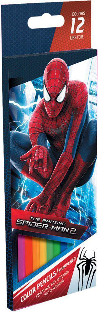 Набор цветных карандашей, 12 шт. Amazing Spider-man 2. Цветные карандаши длиной 17,8 см; заточенные; дерево - липа; цветной грифель 3 мм; карандаш в цвет грифеля с логотипом; логотип - тиснение золотом; Коробка из мелованного картона, раздвижная, европоSMBB-US1-1P-12Набор цветных карандашей 12 цветов. Яркие, насыщенные цвета, мягкое письмо. Прочный неломающийся грифель диаметром 3 мм. Высококачественная древесина. Двойная проклейка стержня специальным клеем предотвращает поломку грифеля при падении. Легко затачим