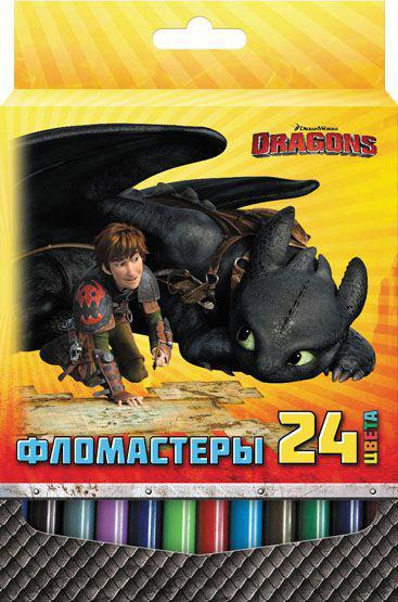 Набор фломастеров DRAGONS, 24 цв., картон с е/п набор для битв dragons gronckle vs cronckle cannon