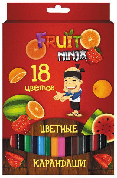 Набор карандашей цветных, ACTION!FRUIT NINJA, с печатью на корпусе, 18 цв., е/п карандаши цветные cullinan далматинцы 18 цв