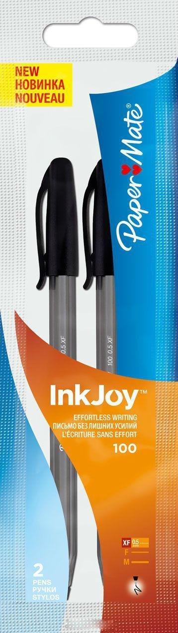 Ручка шариковая INKJOY 100, с колпачком, черная, 0,5 мм, 2 шт.PM-S0957230Особенности: набор из 2 ручек