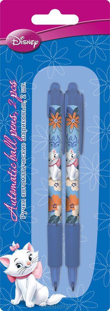 Ручки автоматические шариковые, цвет пасты синий, 2 шт. Печать на корпусе - термоперенос. Упаковка - блистер, 500 г/м2, 4+1, европодвес.  Размер 20 х 7 х 1,5 см. Marie Cat, Academy Style