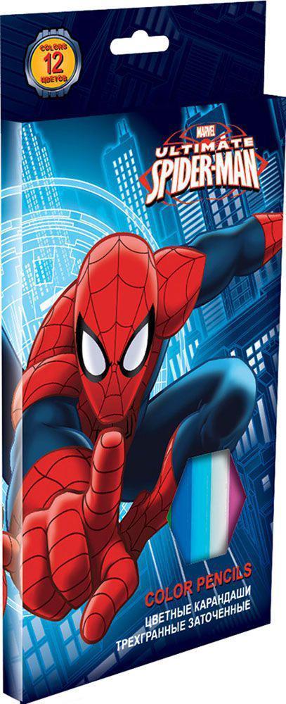 Набор цветных карандашей, 12 шт. (треугольные толстые). Цветные карандаши длиной 17,8 см; заточенные; розовое дерево; цветной грифель 4 мм; карандаш в цвет грифеля с логотипом; логотип - тиснение золотом; коробка: полноцветнаяпечать. Spider-man ClassiSMBB-US2-8P-12Канцелярский набор Spider-man станет незаменимым атрибутом в учебе любого школьника.