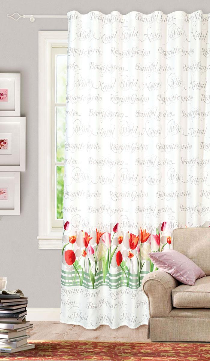 Штора готовая для гостиной Garden, на ленте, цвет: белый, красный, размер 200*260 см. С 10233 - W1223 V8С 10233 - W1223 V8Готовая портьерная штора для гостиной Garden выполнена из сатина (93% полиэстера и 7% льна) с изящным цветочным принтом и витиеватыми надписями. Полупрозрачность материала, вуалевая текстура и нежная цветовая гамма привлекут к себе внимание и органично впишутся в интерьер комнаты. Штора крепится на карниз при помощи ленты, которая поможет красиво и равномерно задрапировать верх. Штора Garden великолепно украсит любое окно.Стирка при температуре 30°С.