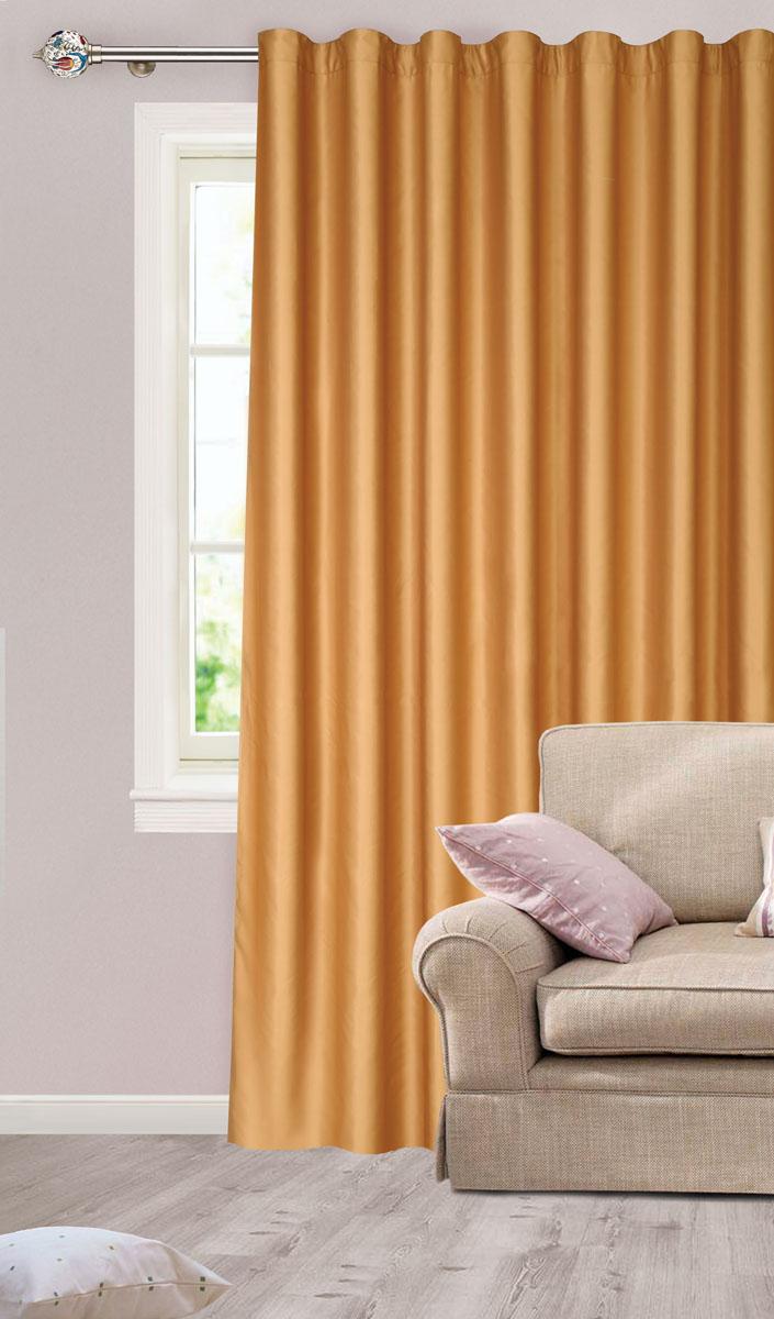 Штора для гостиной Garden, на ленте, цвет: золотистый, размер 200* 260 см. с w1223V78074UN111455620Роскошная штора-портьера Garden выполнена из сатина (100% полиэстера).Материал плотный имягкий на ощупь.Оригинальная текстура ткани и нежный цвет привлекут ксебевнимание и органично впишутся в интерьер помещения.Эта штора будетдолгоевремя радовать вас ивашу семью! Штора крепится на карниз при помощи ленты, которая поможет красиво иравномернозадрапировать верх. Стирка при температуре 30°С.