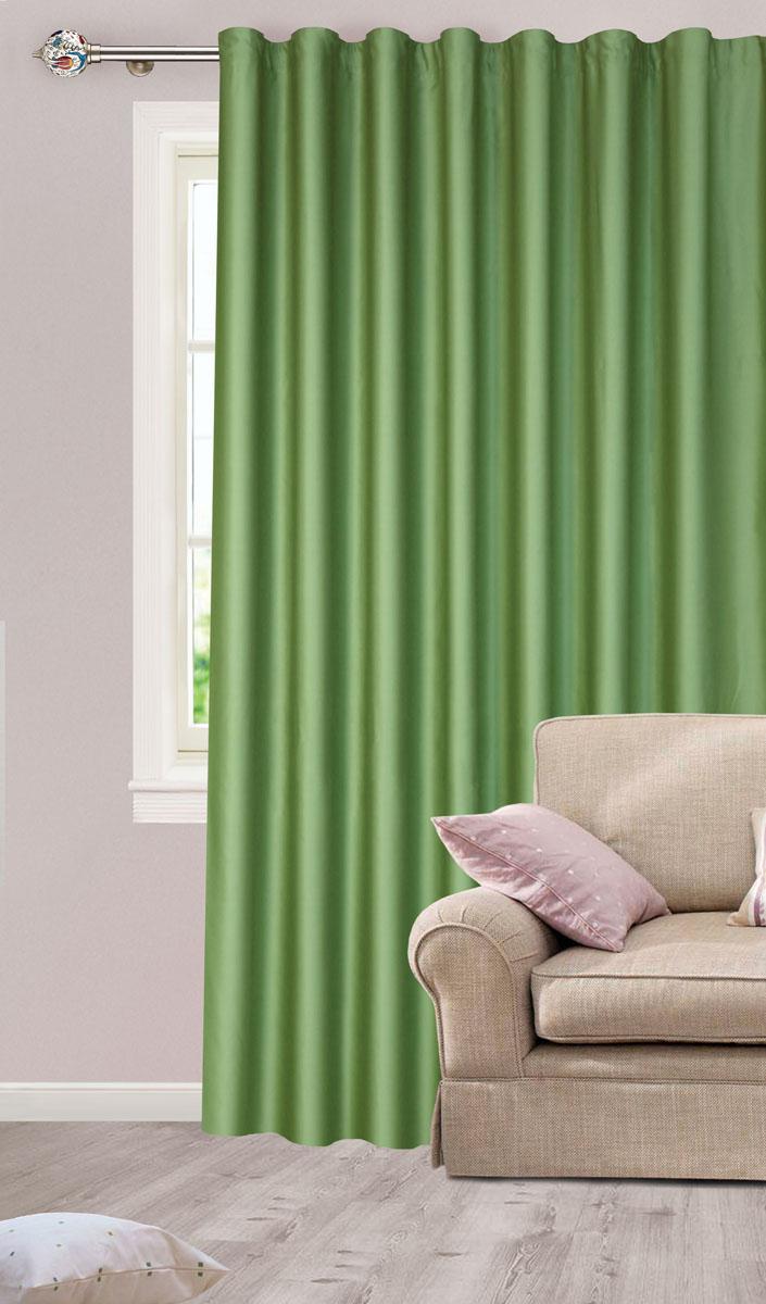 Штора для гостиной Garden, на ленте, цвет: зеленый, размер 200*260 см. с w1223 V73171с w1223 V73171Роскошная штора-портьера Garden выполнена из сатина (100% полиэстера). Материал плотный и мягкий на ощупь.Оригинальная текстура ткани и нежный цвет привлекут к себе внимание и органично впишутся в интерьер помещения.Эта штора будет долгое время радовать вас и вашу семью!Штора крепится на карниз при помощи ленты, которая поможет красиво и равномерно задрапировать верх. Стирка при температуре 30°С.