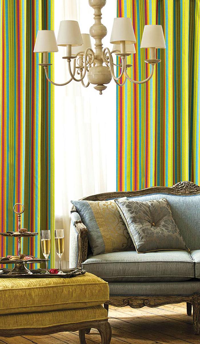 Штора готовая для гостиной Garden, на ленте, цвет: красный, зеленый, синий, размер 140*260 см. С 537072 V7С 537072 V7Изящная портьерная штора Garden выполнена из жаккарда (45,3% полиэстера, 41% хлопка и 13,7% вискозы). Мягкая ткань, приятная цветовая гамма, принт в полоску привлекут к себе внимание и органично впишутся в интерьер помещения. Эта штора будет долгое время радовать вас и вашу семью! Штора крепится на карниз при помощи ленты, которая поможет красиво и равномерно задрапировать верх.