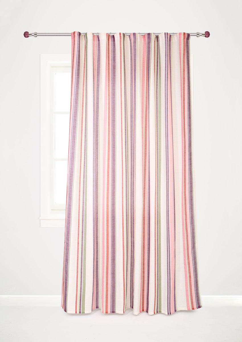 """Роскошная портьерная штора Garden """"Decorato"""" выполнена из ткани рогожка (93%  полиэстера и 7% льна) с печатью. Материал плотный и мягкий на ощупь.   Оригинальная текстура ткани и яркий принт в полоску привлекут к себе внимание  и органично впишутся в интерьер помещения.Эта штора будет долгое время  радовать вас и  вашу семью! Штора крепится на карниз при помощи ленты, которая поможет красиво и  равномерно задрапировать верх."""
