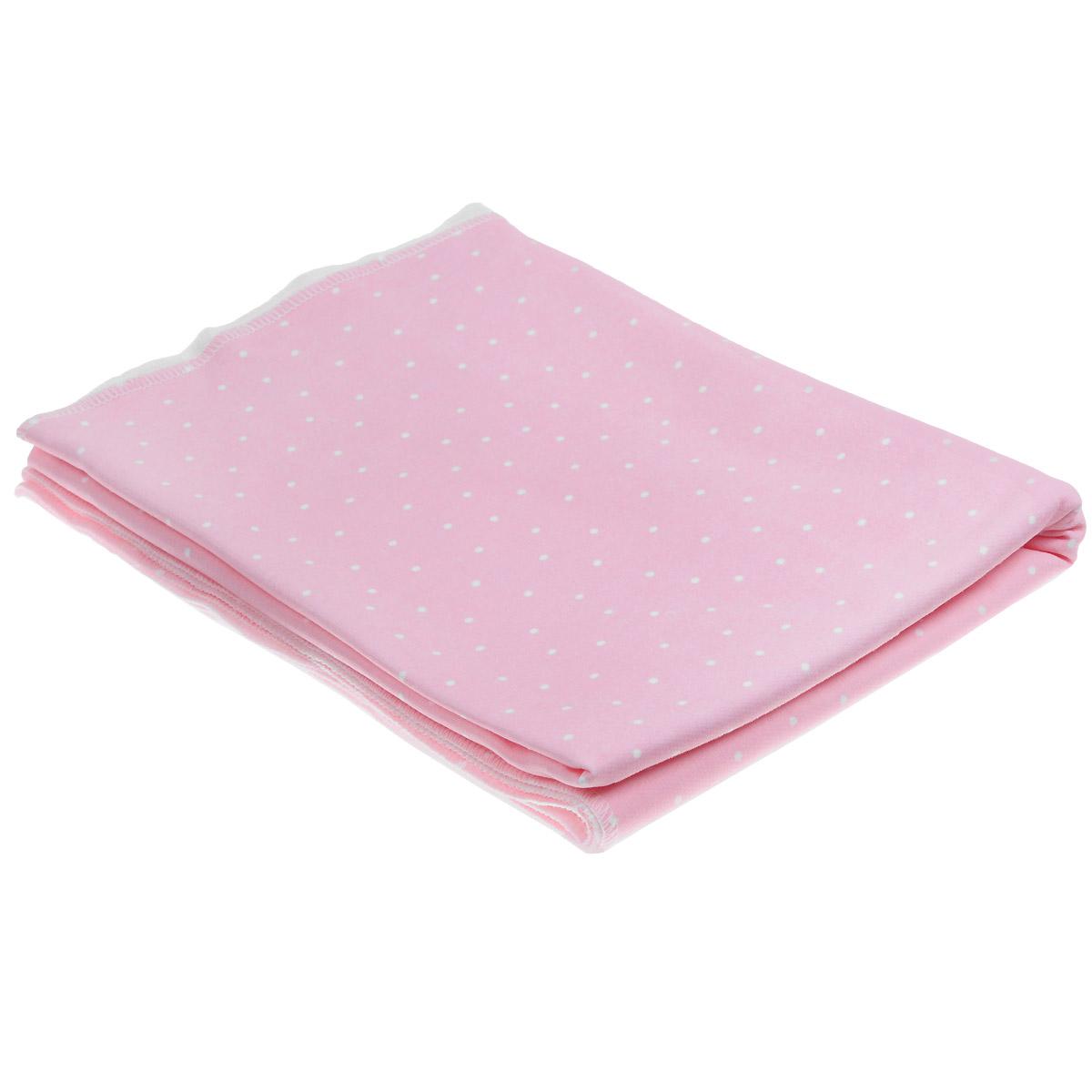 Пеленка трикотажная Трон-плюс, цвет: розовый, белый, 120 см х 90 см