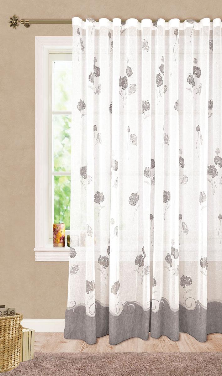 Штора готовая для гостиной Garden Цветы, на ленте, цвет: серый, размер 300*260 смС 6318 - W628 V14Изящная тюлевая штора Garden Цветы выполнена из высококачественного батиста (полиэстера). Полупрозрачная ткань, приятный цвет, цветочный принт привлекут к себе внимание и органично впишутся в интерьер помещения. Такая штора идеально подходит для солнечных комнат. Мягко рассеивая прямые лучи, она хорошо пропускает дневной свет и защищает от посторонних глаз. Отличное решение для многослойного оформления окон. Эта штора будет долгое время радовать вас и вашу семью!Штора крепится на карниз при помощи ленты, которая поможет красиво и равномерно задрапировать верх.