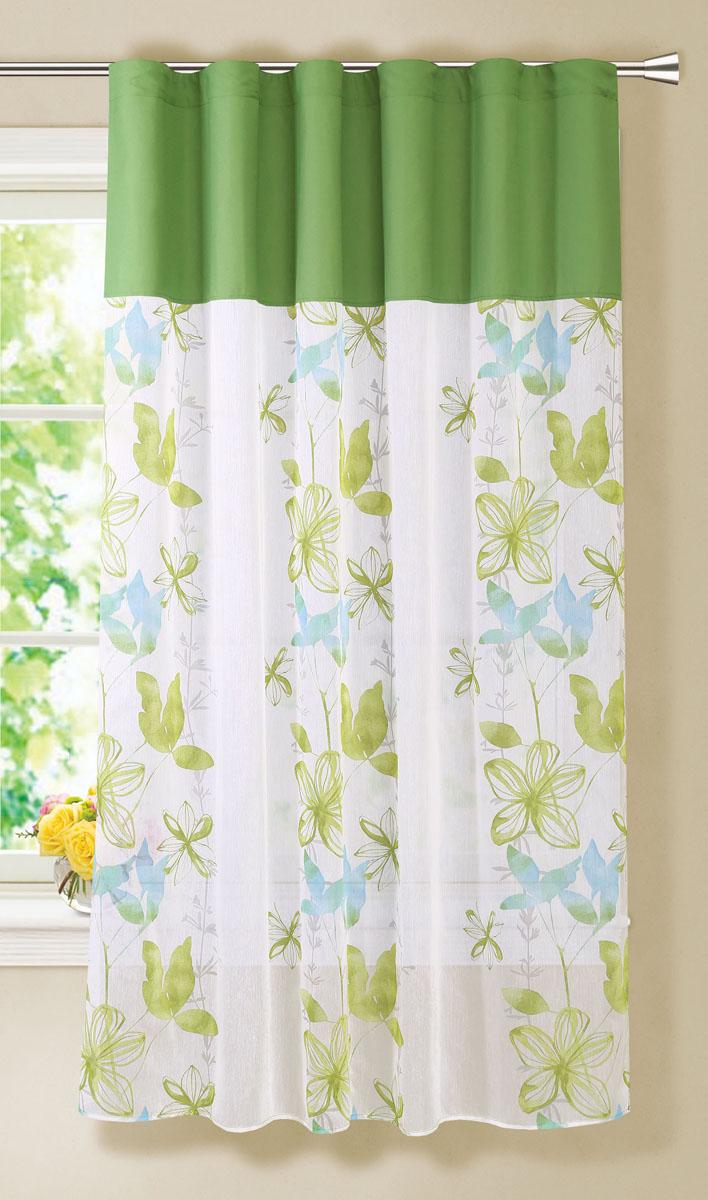 Штора готовая для гостиной Garden, на ленте, цвет: зеленый, размер 150* 180 см. С 4300 - W356 - W1687V5С 4300 - W356 - W1687V5Готовая тюлевая штора для гостиной Garden выполнена из микро батиста (100% полиэстера) с изящным цветочным принтом. Полупрозрачность материала, вуалевая текстура и нежная цветовая гамма привлекут к себе внимание и органично впишутся в интерьер комнаты. Штора крепится на карниз при помощи ленты, которая поможет красиво и равномерно задрапировать верх. Штора Garden великолепно украсит любое окно.Стирка при температуре 30°С.