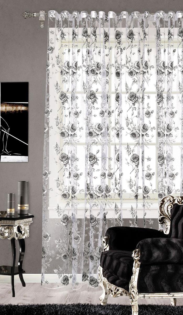 Штора готовая для гостиной Garden, на ленте, цвет: серый, размер 300* 260 см. С 2187 - W260 V1С 2187 - W260 V1Изящная тюлевая штора Garden выполнена из органзы (65% полиэстера и 35% вискозы). Полупрозрачная ткань, приятная цветовая гамма, цветочный принт привлекут к себе внимание и органично впишутся в интерьер помещения. Такая штора идеально подходит для солнечных комнат. Мягко рассеивая прямые лучи, она хорошо пропускает дневной свет и защищает от посторонних глаз. Отличное решение для многослойного оформления окон. Эта штора будет долгое время радовать вас и вашу семью!Штора крепится на карниз при помощи ленты, которая поможет красиво и равномерно задрапировать верх.