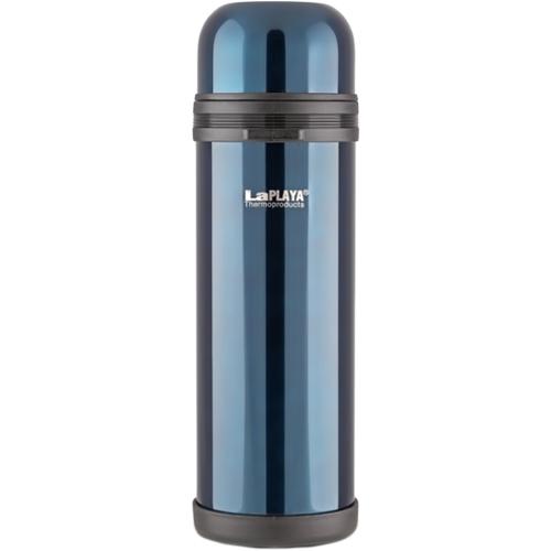 Термос LaPlaya Traditional, цвет: темно-синий, 1,8 л560048Термос LaPlaya Traditional изготовлен из нержавеющей стали 18/8 и пластика. В этом термосе применена система высококачественной вакуумной изоляции. Термос помогает сохранить температуру в течение 8 часов для горячих напитков и 24 часов для холодных.Широкая герметичная комбинированная пробка позволяет использовать термос для первых и вторых блюд при полном открывании и для напитков - при вывинчивании внутренней части. Крышку термоса можно использовать как кружку. Изделие оснащено дополнительной пластиковой чашкой. Откидная ручка и съемный ремень позволяют удобно переносить термос.Высота термоса (с крышкой): 35 см. Диаметр горлышка: 7,5 см. Объем кружки: 350 мл.Высота кружки: 6 см.Диаметр кружки: 10 см. Объем пластиковой чашки: 200 мл.Высота пластиковой чашки: 4 см.Диаметр пластиковой чашки: 9,3 см.