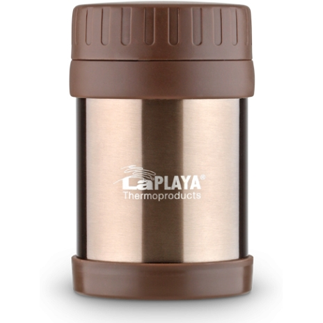 Термос для еды LaPlaya Food Container, цвет: коричневый, 350 мл560082Корпус термоса LaPlaya Food Container изготовлен из высококачественной нержавеющей стали с двумя стенками. Термос оснащен крышкой, благодаря которой сохраняется абсолютная герметичность. Изделие имеет большое горлышко, поэтому идеально подходит для салатов, закусок, первых и вторых блюд.Такой термос удобен в использовании и станет полезным подарком. Диаметр (по верхнему краю): 8 см. Диаметр основания: 8,5 см. Высота (с учетом крышки): 13,5 см.