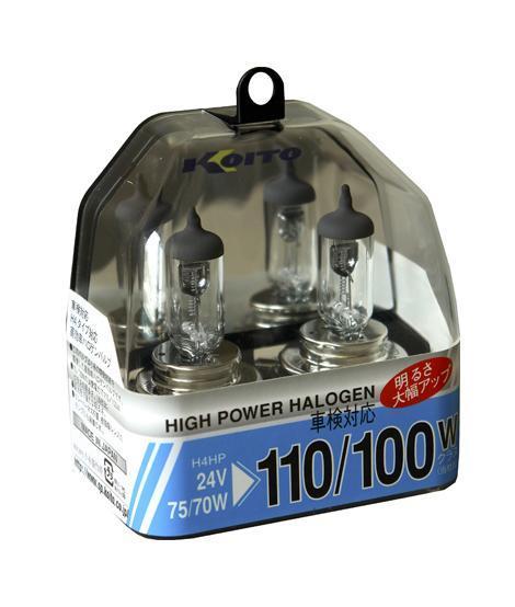 Комплект галогеновых ламп Koito Whitebeam H4, 24V, 70/75W, 2 штKOITO Лампа автомобильная P0591Комплект галогеновых ламп Koito Whitebeam H4, 24V, 70/75W, 2 шт - обладают ярким эффектным светом и компактными размерами. У лампы есть большой запас срока службы. Способна выдержать большое количество включений и выключений.Напряжение: 24 вольт