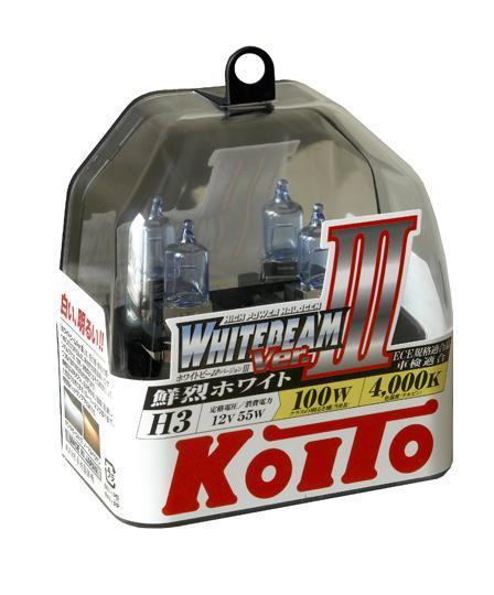 Лампа высокотемпературная Koito Whitebeam H3 12V 55W (100W) 2 шт P0752WKOITO Лампа автомобильная P0752WЯпонская компания KOITO - мировой лидер по производству автомобильных ламп и оптики. Компания основана в 1915 году и в настоящее время входит в корпорацию TOYOTA GROUP и имеет представительства и совместные предприятия по всему миру. Продукция KOITO широко применяется не только для автомобилей, но и для железнодорожных подвижных составов, авиационного и морского транспорта. Компания KOITO выпускает все разновидности лампочек, начиная от ламп головного света и заканчивая подсветкой салона и приборов, для абсолютно всех моделей японских автомобилей и мотоциклов.Компания KOITO выпускает все разновидности ламп и предохранителей для всех моделей японских автомобилей, а также широкий ассортимент для европейских и американских автомобилей. В ассортименте KOITO есть как лампы стандартной комплектации, так и лампы особых серий, таких как VWHITE и WHITEBEAM. Лампы особых серий VWHITE и WHITEBEAM обеспечивают удвоенную яркость при стандартной мощности. Эти лампы соответствуют всем нормам и стандартам, в том числе, и по потребляемой мощности. Эти лампы называются высокотемпературными, потому что при их работе цветовая температура газа достигает 4200 Кельвинов. При этом температура нагрева ламп не превышает допустимые производителем стандартные значения.Выдающиеся качество и надежность лампочек KOITO проверены в таких известных автомобильных состязаниях, как ралли «Париж - Дакар» и 24 - часовые гонки «Ле Манн» и подтверждаются доверием ведущих мировых производителей автомобилей.Напряжение: 12 вольт