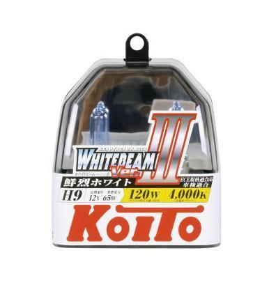 Лампа высокотемпературная Koito Whitebeam H9 12V 65W (120W) пластиковая упаковка -2 шт. комплект P0759WKOITO Лампа автомобильная P0759WЯпонская компания KOITO - мировой лидер по производству автомобильных ламп и оптики. Компания основана в 1915 году и в настоящее время входит в корпорацию TOYOTA GROUP и имеет представительства и совместные предприятия по всему миру. Продукция KOITO широко применяется не только для автомобилей, но и для железнодорожных подвижных составов, авиационного и морского транспорта. Компания KOITO выпускает все разновидности лампочек, начиная от ламп головного света и заканчивая подсветкой салона и приборов, для абсолютно всех моделей японских автомобилей и мотоциклов.Компания KOITO выпускает все разновидности ламп и предохранителей для всех моделей японских автомобилей, а также широкий ассортимент для европейских и американских автомобилей. В ассортименте KOITO есть как лампы стандартной комплектации, так и лампы особых серий, таких как VWHITE и WHITEBEAM. Лампы особых серий VWHITE и WHITEBEAM обеспечивают удвоенную яркость при стандартной мощности. Эти лампы соответствуют всем нормам и стандартам, в том числе, и по потребляемой мощности. Эти лампы называются высокотемпературными, потому что при их работе цветовая температура газа достигает 4200 Кельвинов. При этом температура нагрева ламп не превышает допустимые производителем стандартные значения.Выдающиеся качество и надежность лампочек KOITO проверены в таких известных автомобильных состязаниях, как ралли «Париж - Дакар» и 24 - часовые гонки «Ле Манн» и подтверждаются доверием ведущих мировых производителей автомобилей.Напряжение: 12 вольт