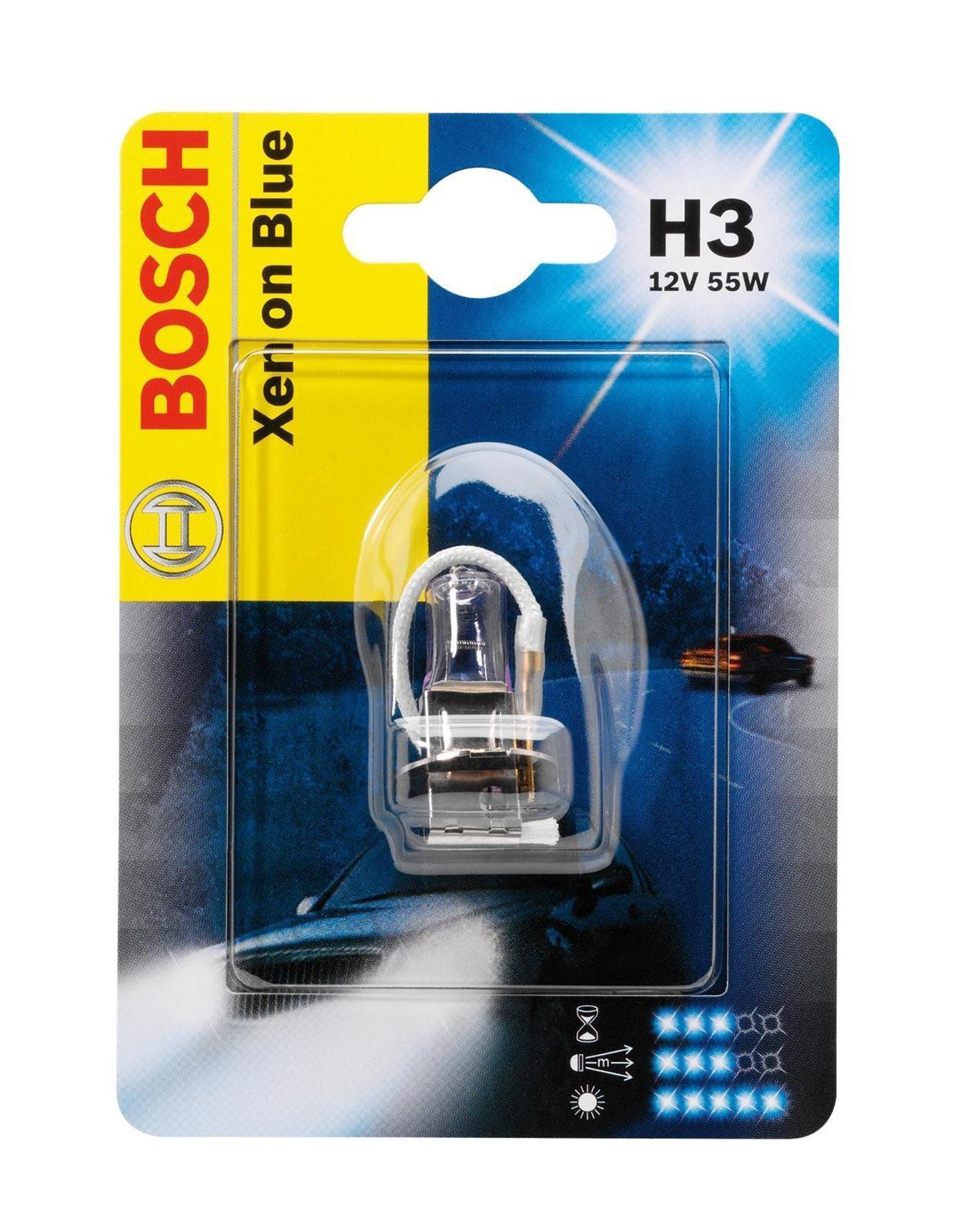 Лампа Bosch Xenon Blue H3 19873010071987301007Лампа галогенная Bosch H3 Xenon Blue 12V, 55W, 1 шт - источник света, у которого светящим элементом является вольфрамовая спираль. У лампы есть большой запас срока службы. Способна выдержать большое количество включений и выключений.Напряжение: 12 вольт
