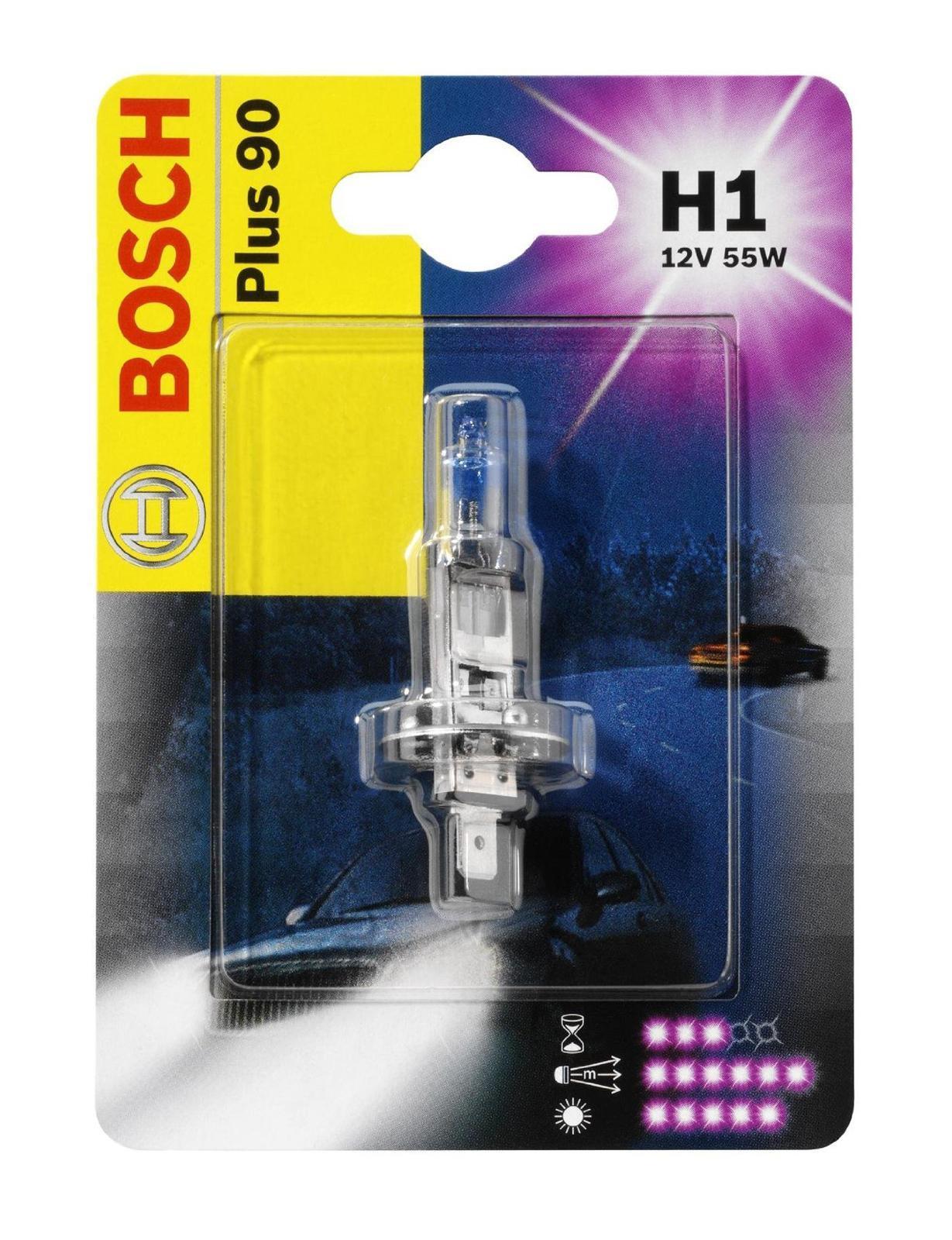 Лампа Bosch H1 +90 19873010761987301076Лампа галогенная Bosch H1 Plus 90 12V, 55W, 1 шт - источник света, у которого светящим элементом является вольфрамовая спираль. У лампы есть большой запас срока службы. Способна выдержать большое количество включений и выключений.Напряжение: 12 вольт