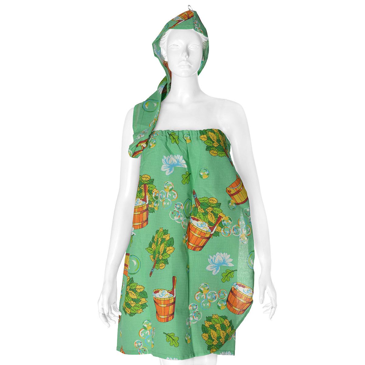 """Комплект женский для бани и сауны """"Невский банщик"""", цвет: зеленый, 2 предмета"""