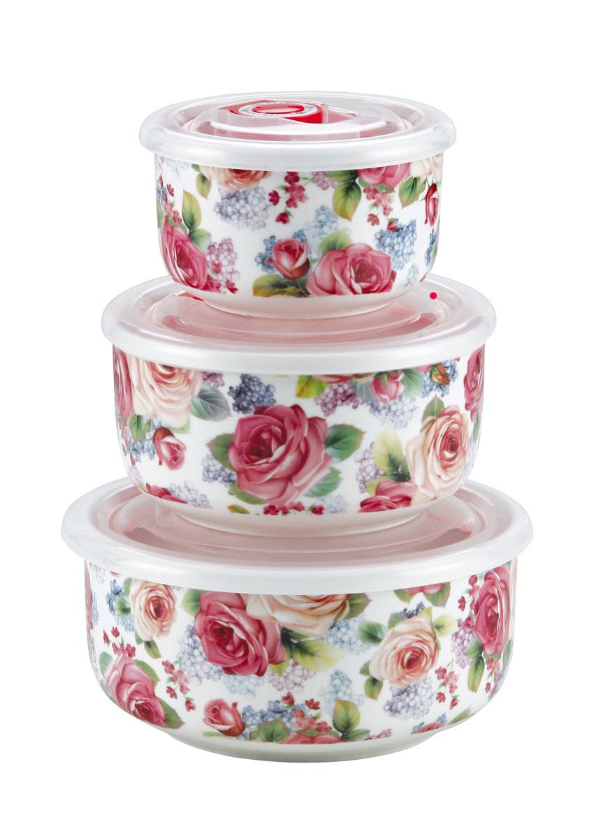 Набор вакуумных контейнеров Bekker Розы, 6 предметовBK-5116Набор Bekker состоит из трех круглых контейнеров разного объема и трех крышек для них. Контейнеры выполнены из высококачественного фарфора, внешние стенки оформлены красочным орнаментом. Изделия оснащены пластиковыми крышками с клапаном для создания вакуума, благодаря чему пища дольше останется свежей. Контейнеры (без крышек) подходят для приготовления и разогрева еды в микроволновой печи и духовом шкафу при температуре до +130°С. Контейнеры (с крышками) пригодны для хранения пищи в холодильнике и морозильной камере при температуре до -30°С. Можно мыть в посудомоечной машине. Объем контейнеров: 300 мл; 550 мл; 950 мл. Диаметр контейнеров: 10 см; 13 см; 15 см. Высота стенок: 6 см; 6,5 см; 7 см.