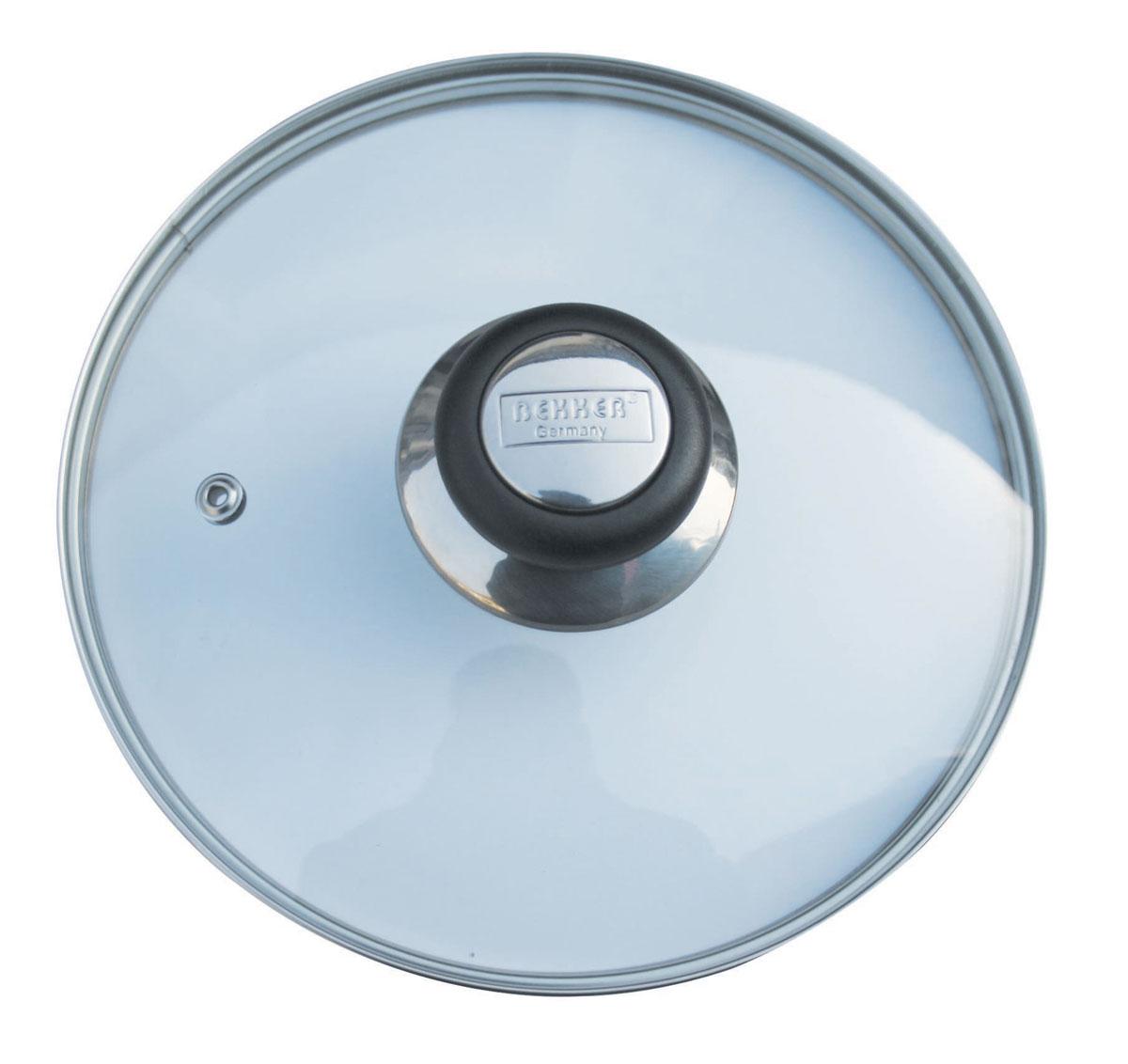 """Крышка """"Bekker"""" изготовлена из прозрачного термостойкого стекла. Обод, выполненный из высококачественной нержавеющей стали, защищает крышку от повреждений. Ручка из бакелита черного цвета защищает ваши руки от высоких температур. Крышка удобна в использовании, позволяет контролировать процесс приготовления пищи. Имеется отверстие для выпуска пара."""
