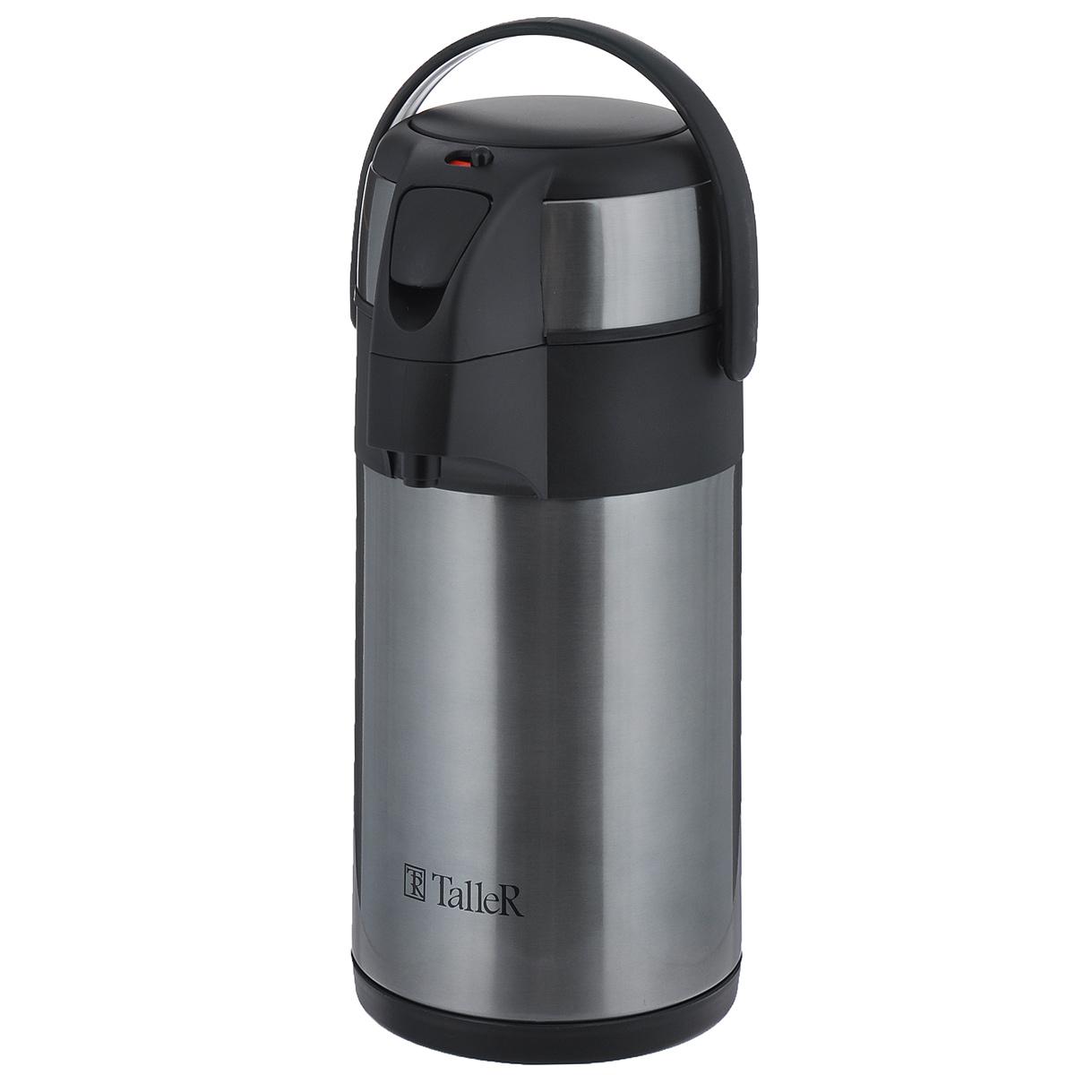"""Термос Taller """"Бартон"""" изготовлен из высококачественной нержавеющей стали 18/10. Вакуумная конструкция термоса надолго сохранит содержимое горячим или холодным. Разборная конструкция внутренней крышки облегчает уход. Удобная компактная ручка позволяет легко переносить термос. Удобная кнопка большого диаметра позволяет легко налить напитки, просто нажав кнопку. Специальный клапан на крышке позволяет легко ее открыть, чтобы наполнить термос жидкостью. Переключатель позволяет заблокировать кнопку помпы и предотвращает расплескивание жидкости. Легкий и прочный термос Taller """"Бартон"""" сохранит ваши напитки горячими или холодными надолго.Рекомендовано мыть в ручную."""
