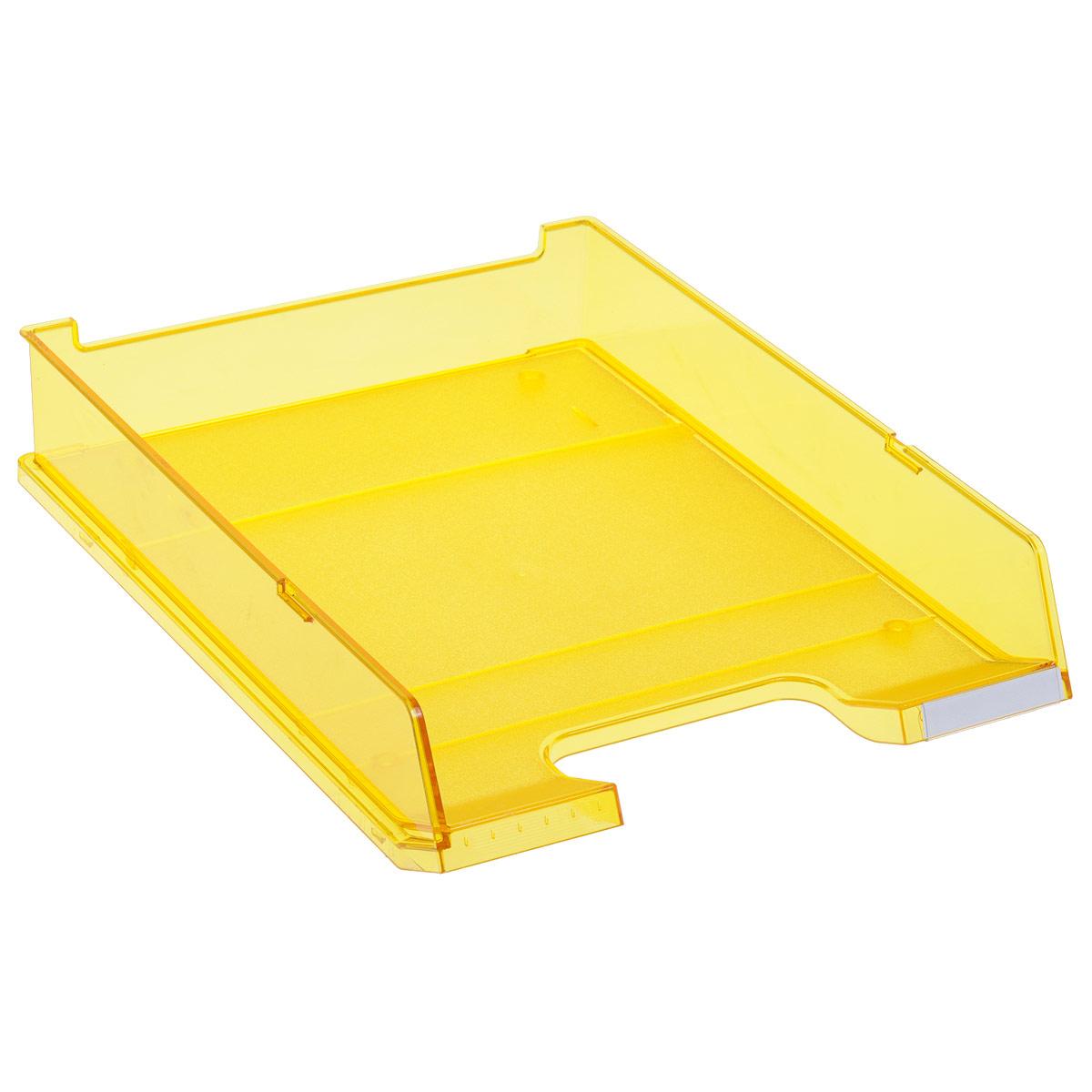 Лоток для бумаг горизонтальный HAN C4, прозрачный, цвет: желтыйHA1020/25Горизонтальный лоток для бумаг HAN C4 предназначен для хранения бумаг и документов формата А4. Лоток с оригинальным дизайном корпуса поможет вам навести порядок на столе и сэкономить пространство. Лоток изготовлен из экологически чистого прозрачного антистатического пластика. Приподнятая фронтальная часть лотка облегчает изъятие документов из накопителя. Лоток имеет пластиковые ножки, предотвращающие скольжение по столу. Также лоток оснащен небольшим прозрачным окошком для этикетки.Лоток для бумаг станет незаменимым помощником для работы с бумагами дома или в офисе, а его стильный дизайн впишется в любой интерьер. Благодаря лотку для бумаг, важные бумаги и документы всегда будут под рукой.Несколько лотков можно ставить друг на друга, один в другой и друг на друга со смещением.