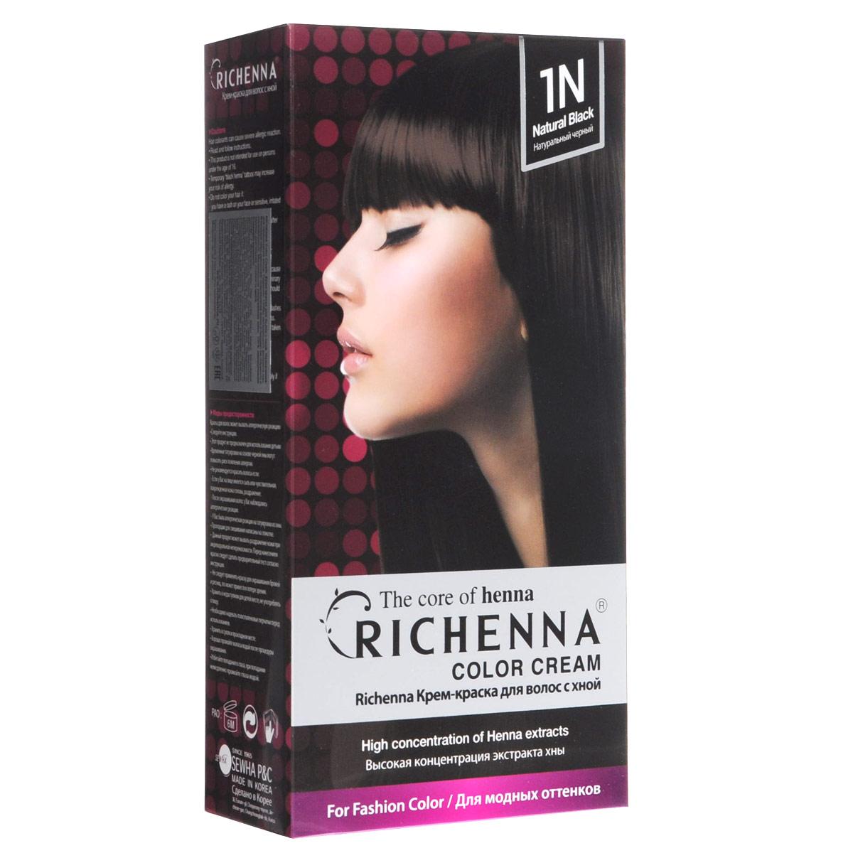 Richenna Крем-краска для волос, с хной, оттенок 1N Натуральный черный29001Крем-краска для волос Richenna с хной позволяет уменьшить повреждение волос, сделать их эластичными и здоровыми, придать волосам живой цвет и красивый блеск. Не раздражая кожу, крем-краска полностью закрашивает седину и обладает приятным цветочным ароматом. Рекомендуется для безопасного изменения цвета волос, полного окрашивания седых волос и в случае повышенной чувствительности к искусственным компонентам краски для волос. Благодаря кремовой текстуре хорошо наносится и не течет. Время окрашивания 20-30 минут. Упаковка средства в 2-х отдельных тубах позволяет использовать средство несколько раз в зависимости от объема и длины волос. Объем крема-краски 60 г, объем крема-окислителя 60 г, объем шампуня с хной 10 мл, объем кондиционера с хной 7 мл. В комплекте: 1 тюбик с крем-краской, 1 тюбик с крем-окислителем, пакетик с шампунем, пакетик с кондиционером, 1 пара перчаток, накидка, пластиковая тара, расческа-кисточка для нанесения и распределения крем-краски и инструкция по применению. Товар сертифицирован.