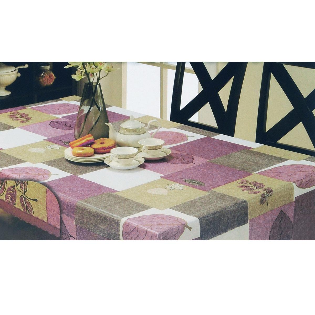 Скатерть White Fox Лист, овальная, цвет: сиреневый, серый, 152x 228 смWКTC72-266Овальная скатерть White Fox Лист, выполненная из ПВХ с основой из флиса, предназначена для защиты стола от царапин, пятен и крошек. Край скатерти обработан строчкой. Скатерть оформлена изображением листочков, а рифлёная поверхность формирует приятные тактильные ощущения, при этом частички пищи удаляются с легкостью и поверхность остается всегда чистой. Скатерть термостойкая, выдерживает температуру до +70 °C.Скатерть White Fox проста в уходе - её можно протирать любыми моющими средствами при необходимости.Скатерть упакована в виниловый пакет с внутренним цветным вкладышем и подвесом в виде крючка.