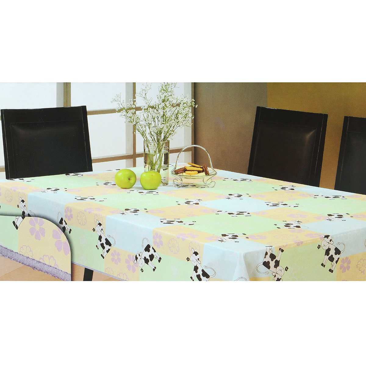 Скатерть White Fox Буренка, круглая, цвет: голубой, светло-зеленый, диаметр 152 см скатерти white fox скатерть party standart пвх с основой из флиса 152 228 см