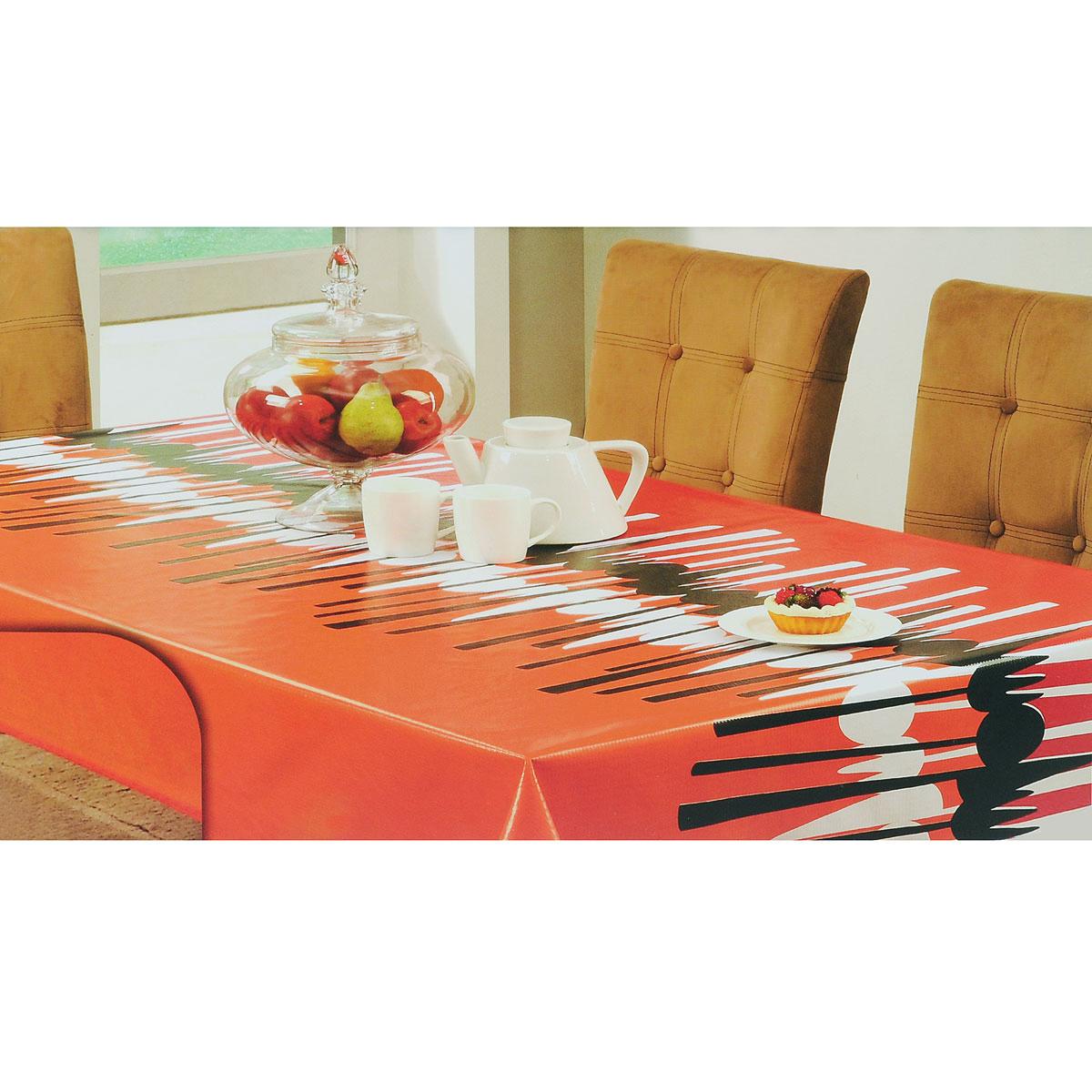 Скатерть White Fox Осень, прямоугольная, цвет: красный, оранжевый, 120x 152 смWКTC72-259Прямоугольная скатерть White Fox Осень, выполненная из ПВХ с основой из флиса, предназначена для защиты стола от царапин, пятен и крошек. Край скатерти обработан тканью. Скатерть оформлена изображением столовых приборов, а рифлёная поверхность скатерти формирует приятные тактильные ощущения, при этом частички пищи удаляются с легкостью и поверхность остается всегда чистой. Скатерть термостойкая, выдерживает температуру до +70 °C.Скатерть White Fox проста в уходе - её можно протирать любыми моющими средствами при необходимости.Скатерть упакована в виниловый пакет с внутренним цветным вкладышем и подвесом в виде крючка.