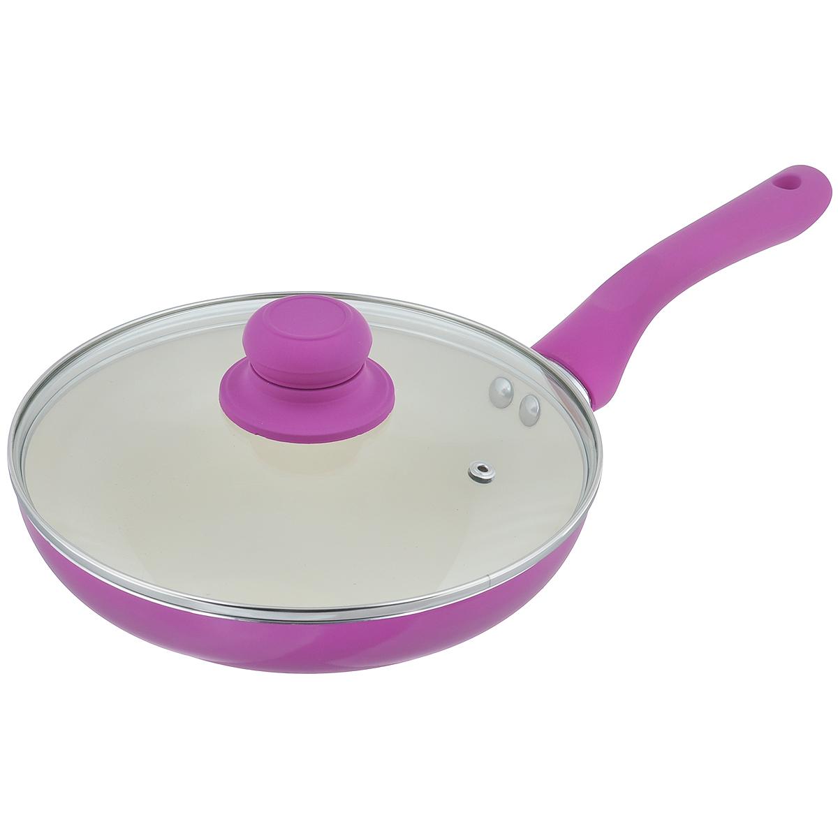 Сковорода Mayer & Boch с крышкой, с керамическим покрытием, цвет: фиолетовый. Диаметр 22 см. 2227422274Сковорода Mayer & Boch изготовлена из алюминия с высококачественным керамическим покрытием. Керамика не содержит вредных примесей ПФОК, что способствует здоровому и экологичному приготовлению пищи. Кроме того, с таким покрытием пища не пригорает и не прилипает к стенкам, поэтому можно готовить с минимальным добавлением масла и жиров. Гладкая, идеально ровная поверхность сковороды легко чистится, ее можно мыть в воде руками или вытирать полотенцем.Эргономичная ручка специального дизайна выполнена из силикона. Сковорода оснащена крышкой из жаропрочного стекла с пароотводом.Сковорода подходит для использования на газовых и электрических плитах. Также изделие можно мыть в посудомоечной машине.Высота стенки: 4,5 см. Толщина стенки: 2,3 мм. Толщина дна: 3 мм. Длина ручки: 15 см. Диаметр дна: 13,5 см.