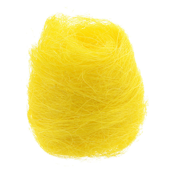Сизаль Folia, цвет: желтый (14), 50 г7708100_14Сизаль Folia является необыкновенным аксессуаром для флористики и упаковки подарков. Это тонкие, прочные волокна, которые изготовляют из листьев агавы. Сизаль окрашивается в различные цвета и затем из его волокон плетут декоративные веревки, украшают металлические каркасы для букетов, используют его в изготовлении корзин. В подарочной упаковке сизаль удачно используют в изготовлении оригинального оберточного материала. Также сизаль используют как наполнитель в коробках. Во многих флористических композициях сизаль создает легкое облако над букетом, придавая воздушность и свежесть цветам. В рождественских декорациях сизаль подчеркивает зимнее настроение коллекций. Такой материал можно комбинировать с различными аксессуарами, как с природными - веточки, шишки, скорлупа, кора, перья так и с искусственными - стразы, бисер, бусины. Уникальная токая структура волокон позволят создавать новые формы.