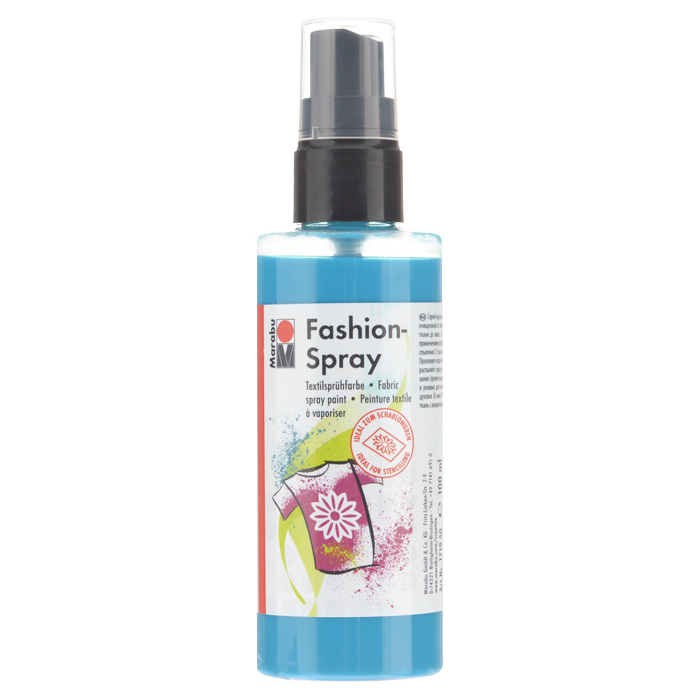 Краска-спрей для текстиля Marabu Fashion Spray, цвет: caribbean / лазурный (091), 100 мл546630_091Краска-спрей для текстиля Marabu Fashion Spray, изготовлена на водной основе, подходит для светлой, очищенной от аппретуры и смягчителя ткани, а также для натуральных тканей, вискозы, смешанных тканей с содержанием синтетических волокон до 20%. Закрепляется краска-спрей с помощью утюга. С краской для текстиля Marabu Fashion Spray вы сможете оригинально и красиво украсить любой текстиль. Время высыхания 6 часов. Рекомендуется стирать и гладить с изнаночной стороны.