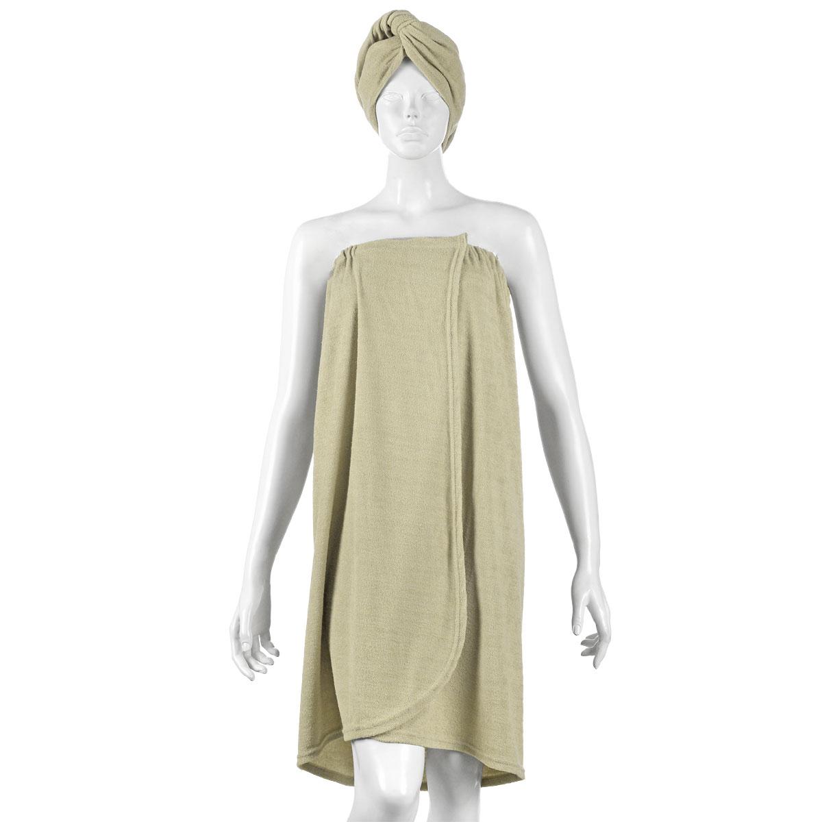 """Комплект женский для бани и сауны """"Главбаня"""", цвет: бежевый, 2 предмета"""