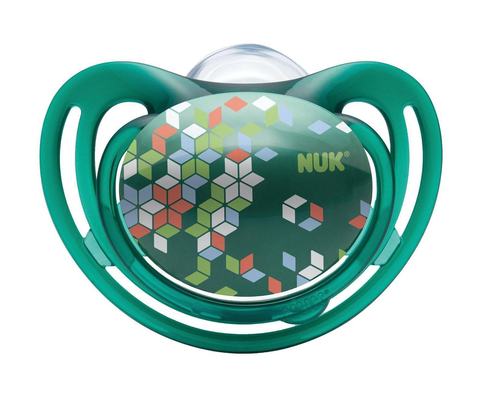 Пустышка силиконовая для сна NUK Freestyle, от 18 до 36 месяцев, ортодонтическая, цвет: зеленый, 2 шт соска пустышка nuk night & day от 18 до 36 месяцев цвет салатовый синий