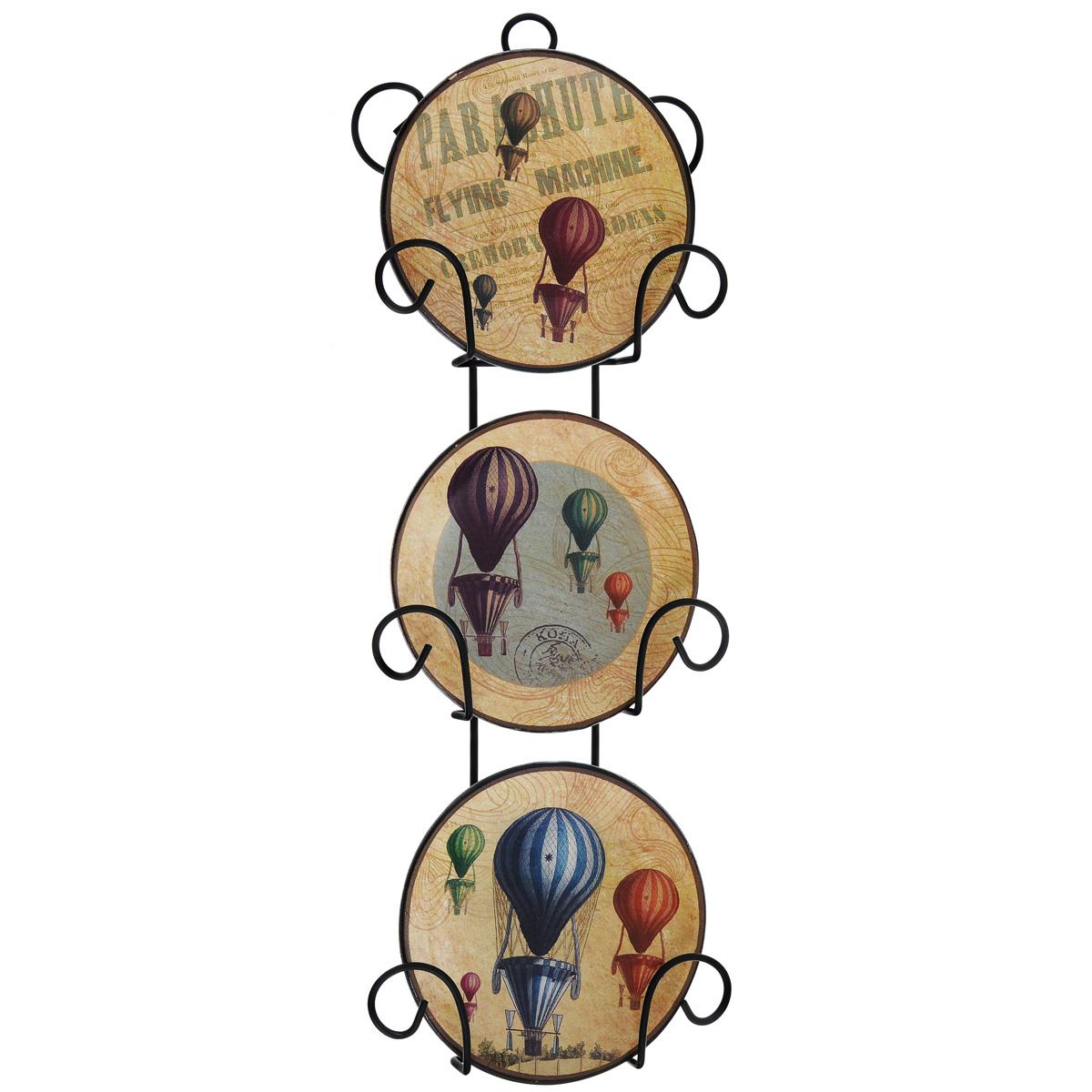 Набор декоративных тарелок Воздушные шары, диаметр 10 см, 3 шт36262Размер тарелки (без подставки): 10 см х 10 см х 1,5 см. Размер сувенира с подставкой: 2,5 см х 11,5 см х 33 см.