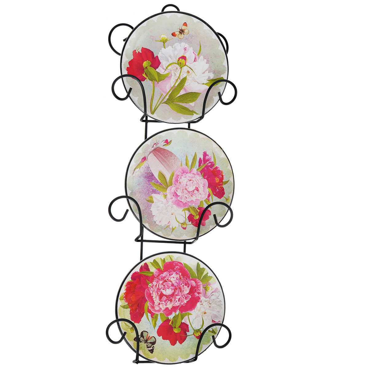 Набор декоративных тарелок Пионы, диаметр 10 см, 3 шт что в виде сувенира из туапсе