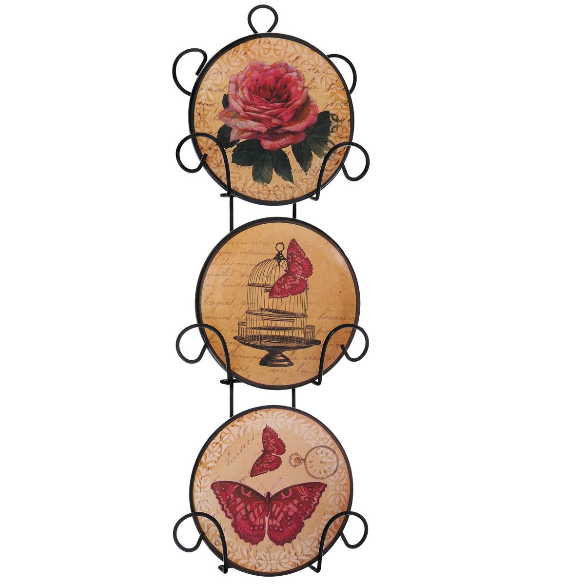 Набор декоративных тарелок Бабочки, диаметр 10 см, 3 шт36256Набор из трех декоративных тарелок с ярким рисунком украсят практически любое ваше помещение, будь то кухня, столовая, гостиная, холл и будут являться необычным дизайнерским решением. Тарелки выполнены из доломитовой керамики, подставка в виде вертикальной этажерки,благодаря которой сувенир удобно и быстро крепится к стене, - из черного металла. Каждая тарелочка, декорированная изображениями розы, клетки и бабочек, помещается в отдельную нишу. Очаровательный набор декоративных тарелок - замечательный подарок друзьям и близким людям. Размер тарелки (без подставки): 10 см х 10 см х 1,5 см. Размер сувенира с подставкой: 2,5 см х 11,5 см х 33 см.