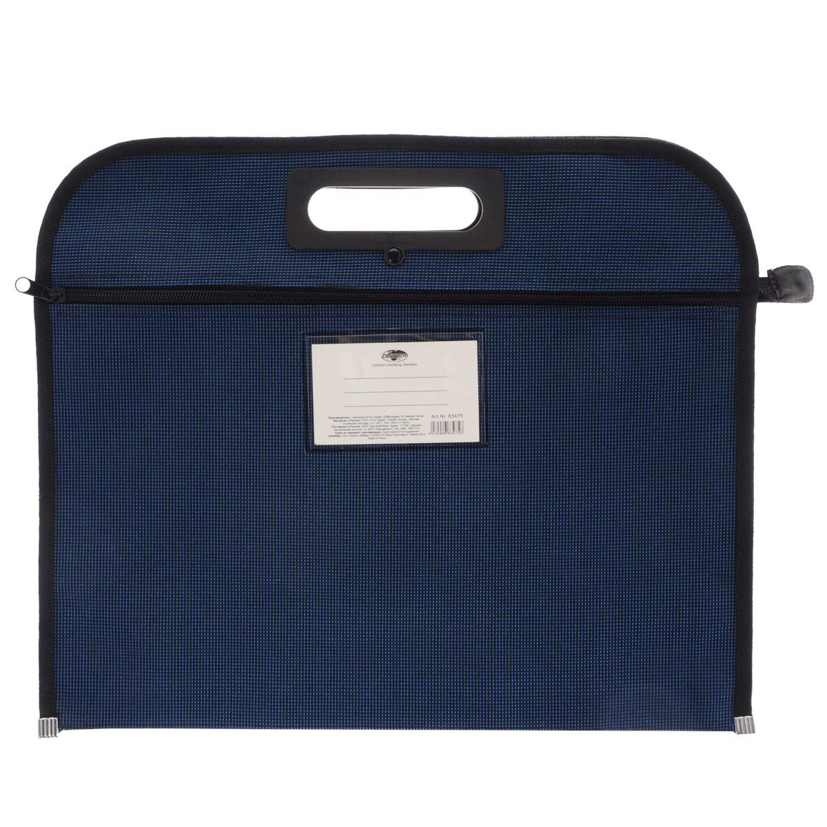 Папка Centrum, на молнии, цвет: синий. Формат А483475Деловая папка Centrum - это удобный и функциональный офисный инструмент, предназначенный для хранения и транспортировки большого объема рабочих бумаг и документов формата А4. Папка изготовлена из высококачественного полиэстера, закрывается на застежку-молнию и имеет удобные ручки для переноски. Папка состоит из одного вместительного отделения. На фронтальной стороне расположен прорезной карман на застежке-молнии и прозрачное окошко для визитной карточки.Папка - это незаменимый атрибут для студента, школьника, офисного работника. Такая папка надежно сохранит ваши документы и сбережет их от повреждений, пыли и влаги.