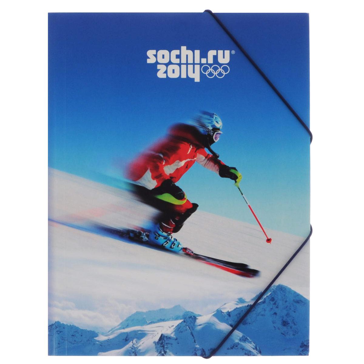 """Папка на резинке Hatber """"Сочи-2014: Лыжник"""", цвет: синий. Формат А4"""