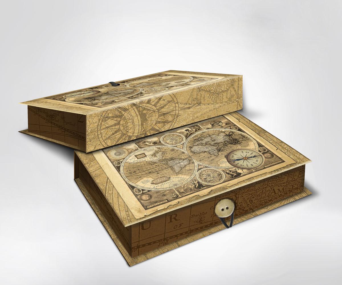 Подарочная коробка Старые карты, 22 х 16 х 7 см36485Подарочная коробка Старые карты выполнена из плотного картона. Крышка оформлена ярким изображением старинных карт и компаса. Коробка закрывается на пуговицу.Подарочная коробка - это наилучшее решение, если вы хотите порадовать ваших близких и создать праздничное настроение, ведь подарок, преподнесенный в оригинальной упаковке, всегда будет самым эффектным и запоминающимся. Окружите близких людей вниманием и заботой, вручив презент в нарядном, праздничном оформлении.