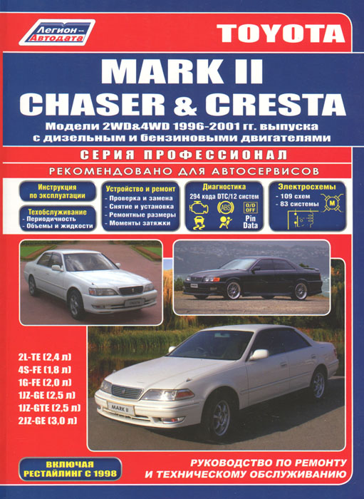 Toyota Mark II / Chaser / Cresta. Модели 2WD and 4WD 1996-2001 гг. выпуска с дизельным и бензиновыми двигателями toyota caldina модели 2wd