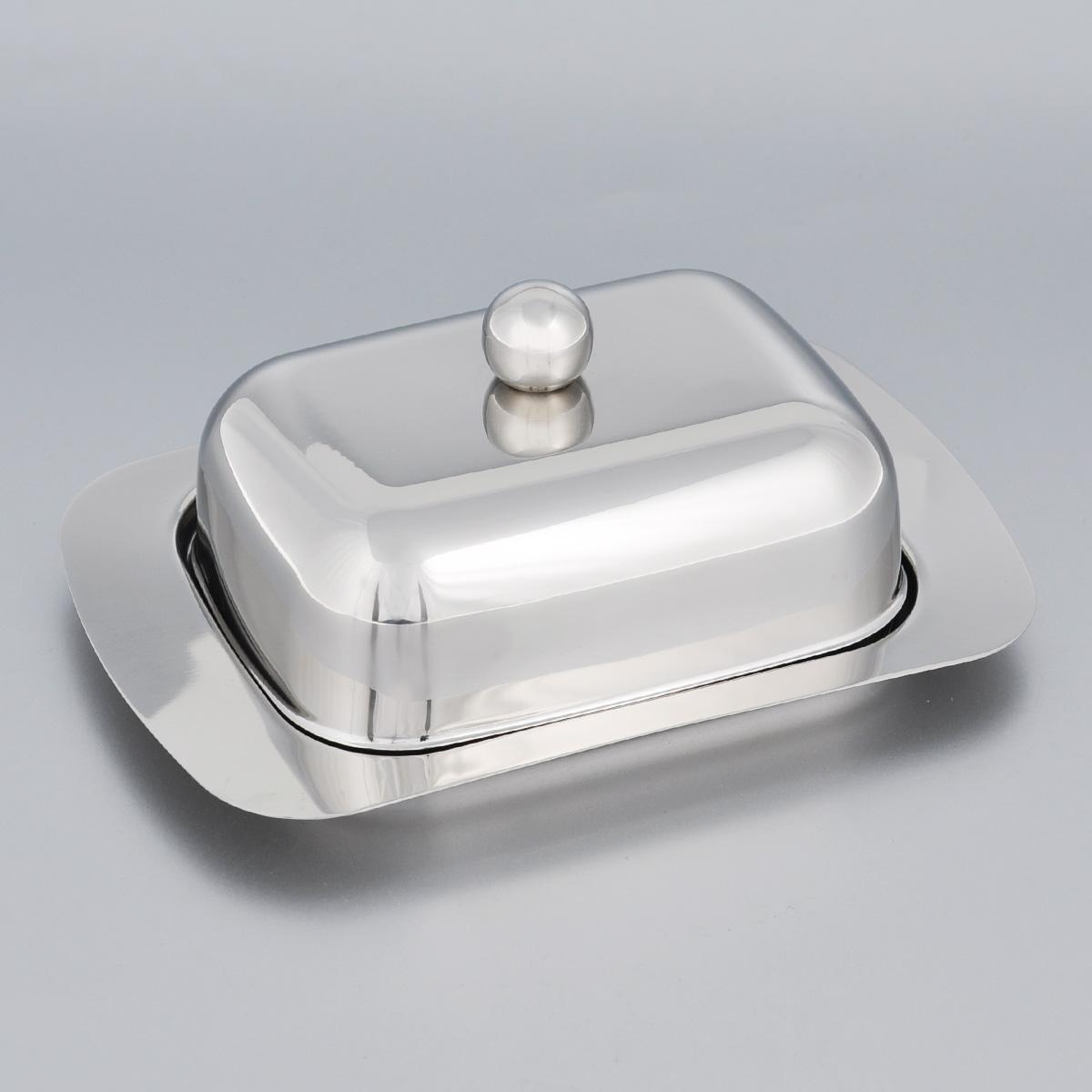Масленка Mayer & Boch. 34243424Масленка Mayer & Boch, изготовленная из высококачественной нержавеющей стали, предназначена для красивой сервировки и хранения масла. Она состоит из подноса и крышки с ручкой. Масло в ней долго остается свежим, а при хранении в холодильнике не впитывает посторонние запахи. Гладкая поверхность обеспечивает легкую чистку. Можно мыть в посудомоечной машине.Размер подноса: 18,5 см х 12 см х 2 см.Размер крышки: 13,5 см х 10 см х 6 см.