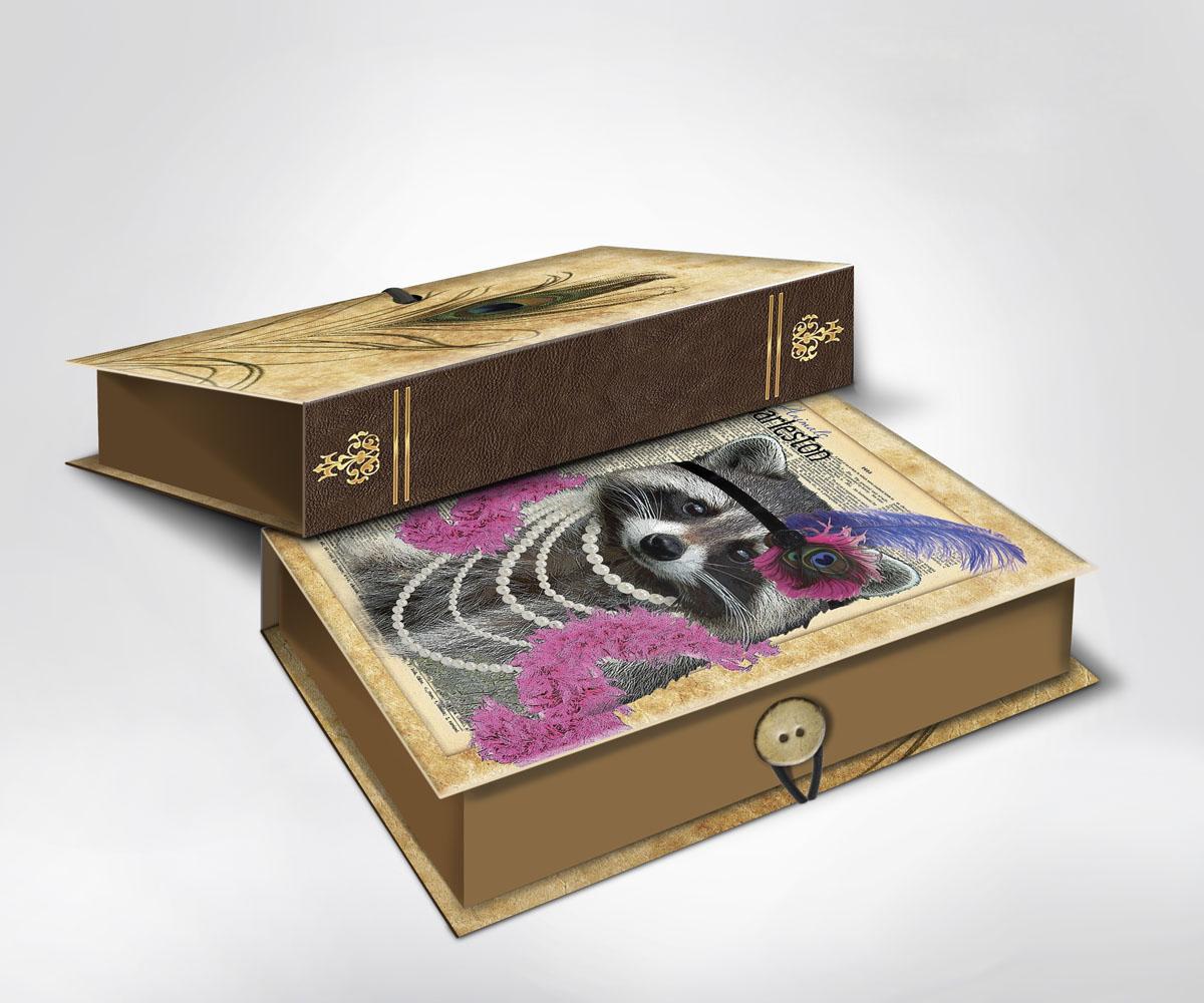 Подарочная коробка Енот, 22 х 16 х 7 см36533Подарочная коробка Енот выполнена из плотного картона. Крышка оформлена ярким изображением забавного енота в бусах и перьях. Коробка закрывается на пуговицу.Подарочная коробка - это наилучшее решение, если вы хотите порадовать ваших близких и создать праздничное настроение, ведь подарок, преподнесенный в оригинальной упаковке, всегда будет самым эффектным и запоминающимся. Окружите близких людей вниманием и заботой, вручив презент в нарядном, праздничном оформлении.
