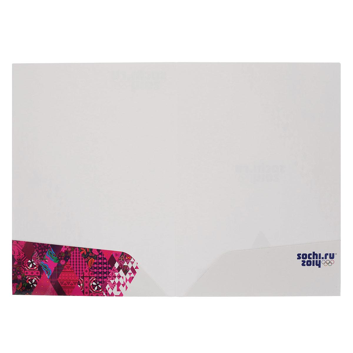 """Папка для документов Hatber """"Сочи-2014: Образ игр"""", с карманами, цвет: белый, розовый. Формат А4"""