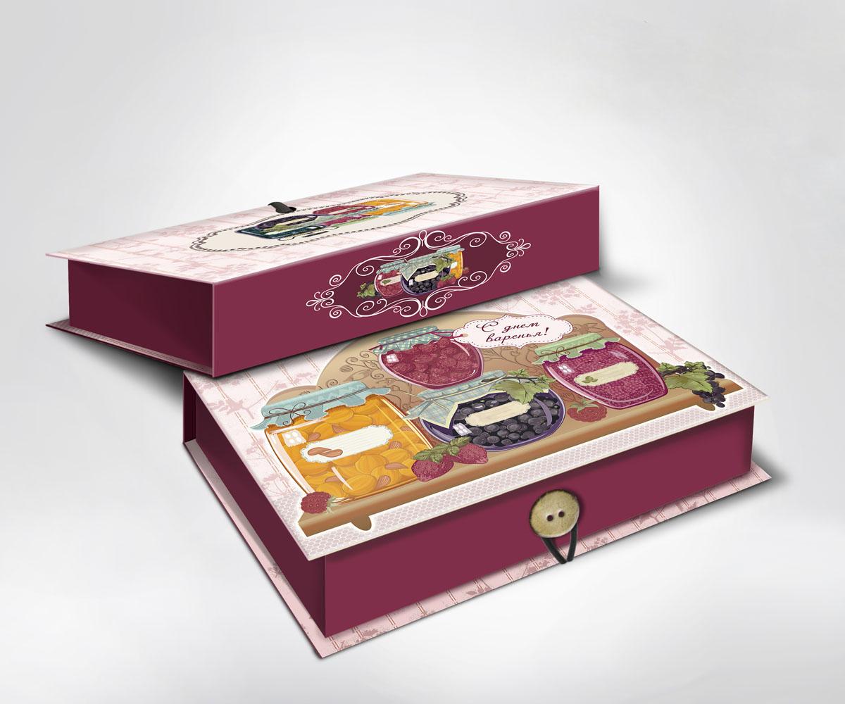 Подарочная коробка Варенье, 22 х 16 х 7 см36494Подарочная коробка Варенье выполнена из плотного картона. Крышка оформлена ярким изображением банок с вареньем. Коробка закрывается на пуговицу.Подарочная коробка - это наилучшее решение, если вы хотите порадовать ваших близких и создать праздничное настроение, ведь подарок, преподнесенный в оригинальной упаковке, всегда будет самым эффектным и запоминающимся. Окружите близких людей вниманием и заботой, вручив презент в нарядном, праздничном оформлении.