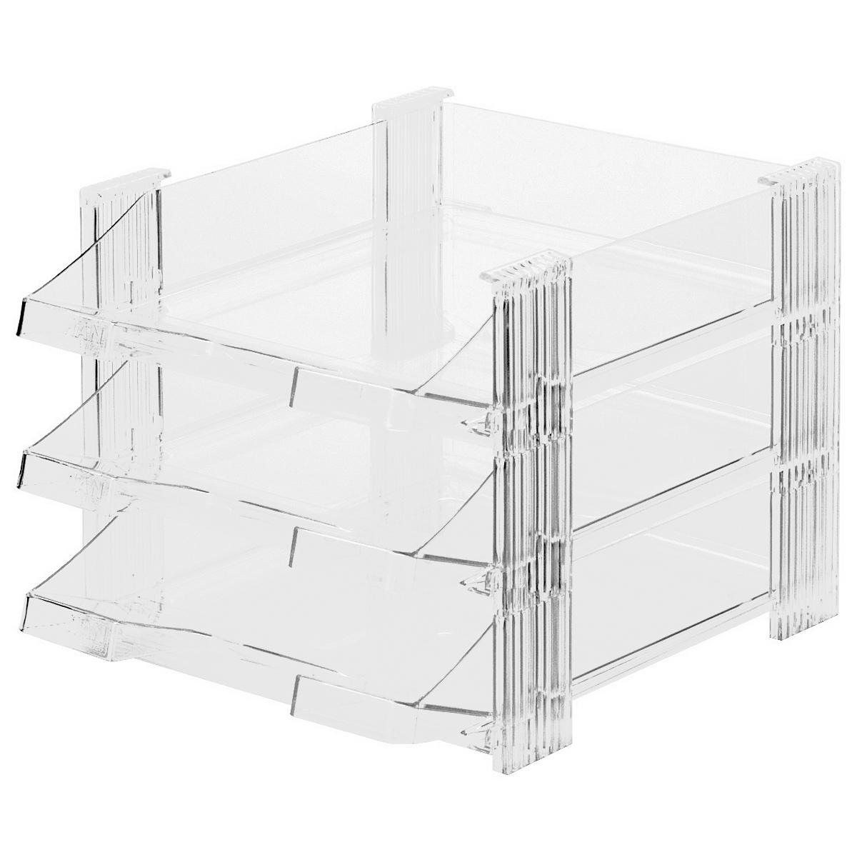 Лоток для бумаг горизонтальный HAN  Brillant , 3 секции, цвет: прозрачный -  Лотки, подставки для бумаг